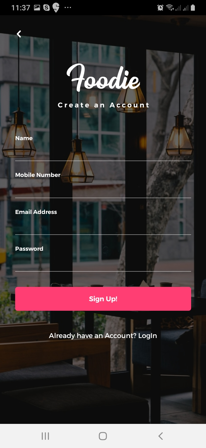 Foodiee Sign Up Screen