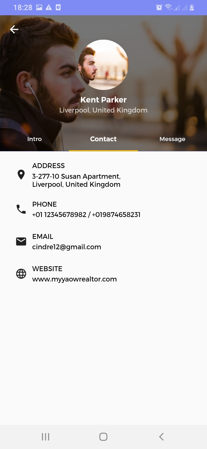 Myyaow Realtor Agent Contact Screen